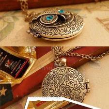 Antique Bronze Blue Eye Owl Locket Retro Long Necklace Pendant New Style