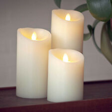 Luminara Ivory Wax Moving Wick Flameless Candle Fireless Timer Remote Set of 3