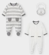 BNIB 3 Piece Mayoral Baby Grow Owl Bib Set, Unisex New Born Grey 0-1m Gift White