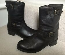 100% LEATHER BIKER STYLE ANKLE BOOTS SIZE UK 3
