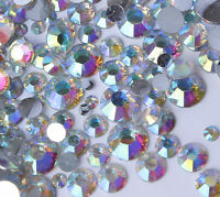 AB Iridescent Crystal Clear Aurora Borealis Rhinestones 2-6mm + Mixed Size