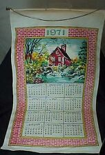 1971 Cloth Hanging Kitchen Calendar Barn Old Mill
