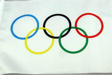 Olympic Flag 5 x 3 FT - 100% Polyester With Eyelets Banner Sign Rings Summer