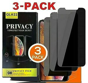 3-PK iPhone 13 12 11 Pro Max XR Privacy Anti-Spy Tempered GLASS Screen Protector
