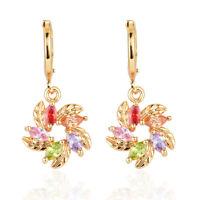 Women 18K Gold Plated Colorful Flower Cubic Zirconia CZ Drop Earrings Jewelry