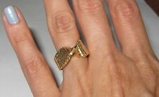 14k yellow solid gold love knot swirl ring unique band sparkly florentine size 6