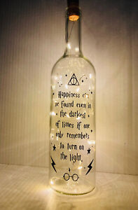 Harry Potter Inspired Bottle With Lights - Happiness In Darkness Quote