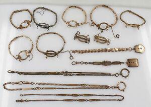 Konvolut Zubehör Uhrenkette Uhrenarmband Chatelaine Double vergoldet defekt
