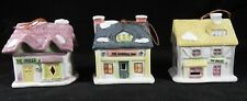 Three Reader's Digest Ceramic Bell Store Front Christmas Ornaments, 1991