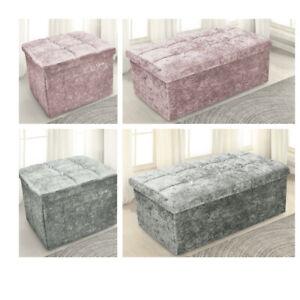 Crushed Velvet Diamante Ottoman Storage Box Folding Seat Stool Blush Pink Silver