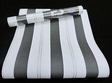 """05617-10-7) 6 Rollen Papiertapeten schicke Streifen """"WISH"""" weiß, grau, silber"""