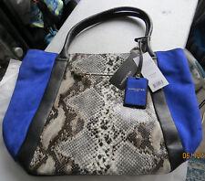 Neuf sac à mains LANCASTER tout cuir bleu électrique & imprimé serpent python