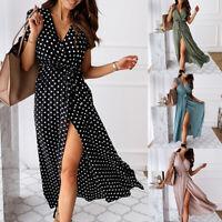 Womens V Neck Boho Polka Dot Maxi Dress Summer Beach Short Sleeve Wrap Dresses