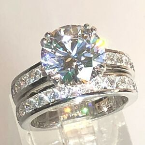 Bridal Set: 10mm Round Simulated Diamond Real 925 Silver Engagement Wedding Ring