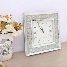 Square Diamante Crystal Jewel Mirror Hanging Analogue Wall Clock Diamond Large