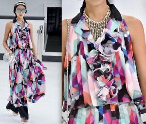 NWOT $7000  CHANEL 16P Pleated CC Logo Blouse Jacket  Skirt Set  FR38,US4-6