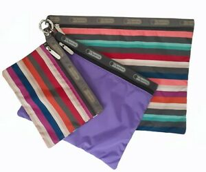 LeSportsac Campus Stripe Multicolored Zip Pouch Makeup Everyday Trio Set 3 Sizes