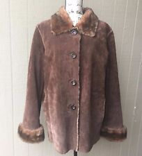 NEW YORK & CO Womens Jacket Coat Genuine Leather Button down Suede Brown XL