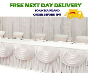Silky Satin White DETACHABLE SWAG Wedding Backdrop Curtain Party Stage Decor VAT