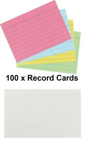 MADE IN UK- Record Revision Index Flash Cards White / Colour Lined  Home/Office
