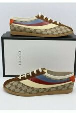 Gucci Authentic Falacer GG Web Brown Canvas/Leather/Suede Sneakers BNIB UK7.5