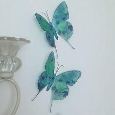 4 VINTAGE ROSE Teal & Duck Egg Blu Stampa Farfalle farfalla camera da letto SPECCHIO