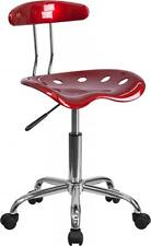 Flash Furniture Vibrant Wine Red & Chrome Computer Task Chair w/Tractor Seat NEW