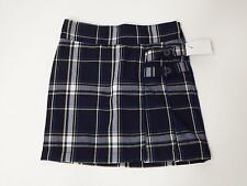 Girl Uniform Skirt Shorts Skort Blue Plaid Size 4 Cherokee Pleated Front