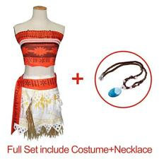Kid Costume Disney Moana Princess Girls Cosplay Fancy Dress Necklace Outfits Set 110