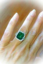 2ct Green Emerald Diamond Split Shank Band Engagement Ring 14ct White Gold Over