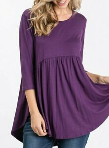 PLUS SIZE PLUM BOHO BABYDOLL 3/4 SLEEVE TUNIC TOP BLOUSE ROUND HEM XL 1X 2X 3X