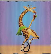 Funny Giraffe Riding Unicycle Bike Eating Ice Cream Bathroom Shower Curtain