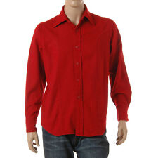 Vintage 1970s Red Wool Blend Mens Long Sleeve Shirt Brent Montgomery Ward Medium