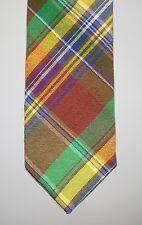 NWT Drake's London Cotton Wool Plaid Tie Handmade Drakes Blue Green Red Brown