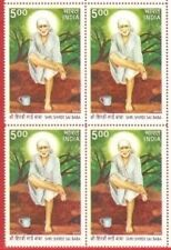 INDIA SAI BABA BLOCK OF 4 STAMPS WHITE FRESH