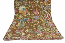 Indian handmade cotton kantha quilt vintage bedspread queen size bedding blanket
