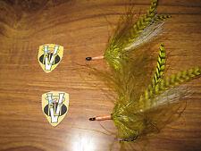 2 V Fly Size 1/0 HDD Ultimate Poon Bug Olive Baitfish Predator Tarpon Flies