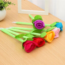 2x Colorful Novelty Rose Flower Ballpoint Pens Plush Wedding Party Kids Gifts