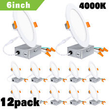 Hykolity 12 Pack 6 Inch LED Recessed Ceiling Light with Junction Box 4000K 850lm
