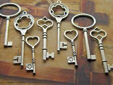Steampunk Antique Silver Skeleton Keys Wedding Vintage Style Pendants Charms 8x