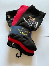 BNWT WOMENS POLO RALPH LAUREN 3 PAIRS POLO BEAR LONG SOCKS ONE SIZE BLACK & RED
