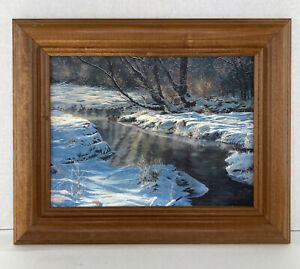 "Artist Jack Paluh Wintertime Print 16""x 13"" Wood Frame Nature Artwork"