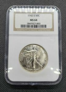 1942-S Walking Liberty Half Dollar   NGC MS64