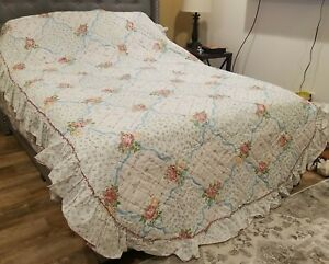 Vintage Spring Mills Springmaid Floral Quilted Bedspread Floral Ribbon Twin NEW