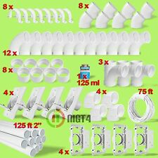 Central Vacuum Systems 4-Inlet DIY Home Installation Kit 125' White PVC Pipe