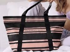 Victoria's Secret Sparkle Canvas Tote Zippered Bag Pink Rose Gold Striped New
