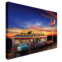 Diner on Route 66 Canvas Wall Art Picture Print
