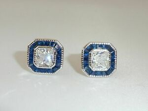 2Ct Asscher Cut Diamond & Sapphire Halo Stud Earrings In 14k White Gold Finish