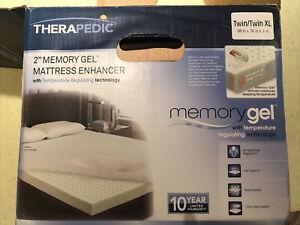 "THERAPEDIC 2"" Memory Gel Foam Mattress enhancer topper TWIN XL 38""x78"" Dorm Bed"