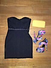 FOREVER NEW Little Black Dress LBD Studs Embellishment Strapless Party Size 10 S